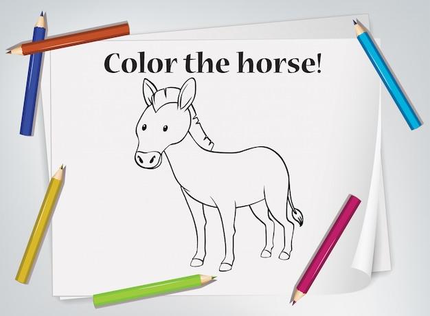 Feuille De Coloriage De Cheval Pour Enfants Vecteur gratuit
