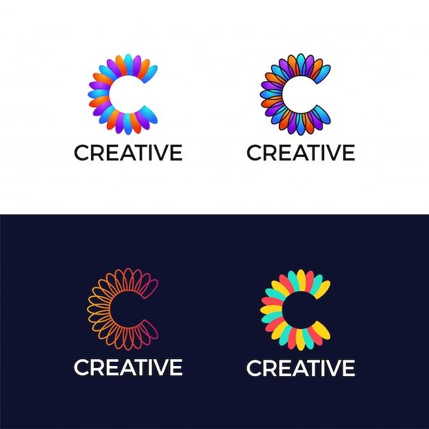 Feuille de fleur coloré lettre créative c logotype abstrait. Vecteur Premium