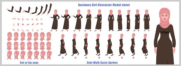 Feuille de modèle de personnage de fille arabe avec animations de cycle de marche et synchronisation labiale Vecteur Premium