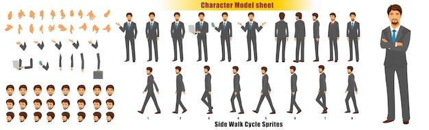 Feuille de modèle de personnage d'homme d'affaires avec feuille de cycle d'animation animation de sprites Vecteur Premium