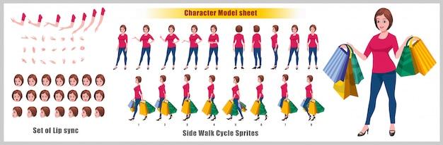 Feuille de modèle shopping young girl character avec animations du cycle de marche et synchronisation labiale Vecteur Premium