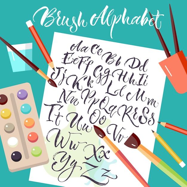 Feuille de papier avec alphabet dessiné à la main Vecteur gratuit