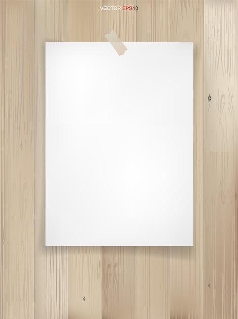 Feuille De Papier Blanc Sur Fond De Texture Bois Vecteur Premium
