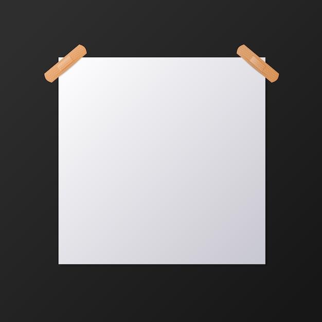 Feuille De Papier Carré Blanc Vierge, Maquette Vecteur Premium