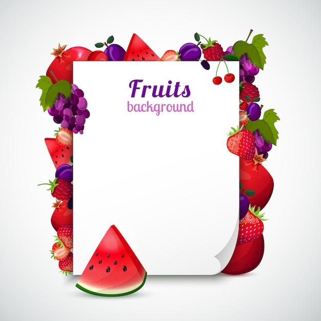 Feuille de papier décorée de fruits Vecteur gratuit