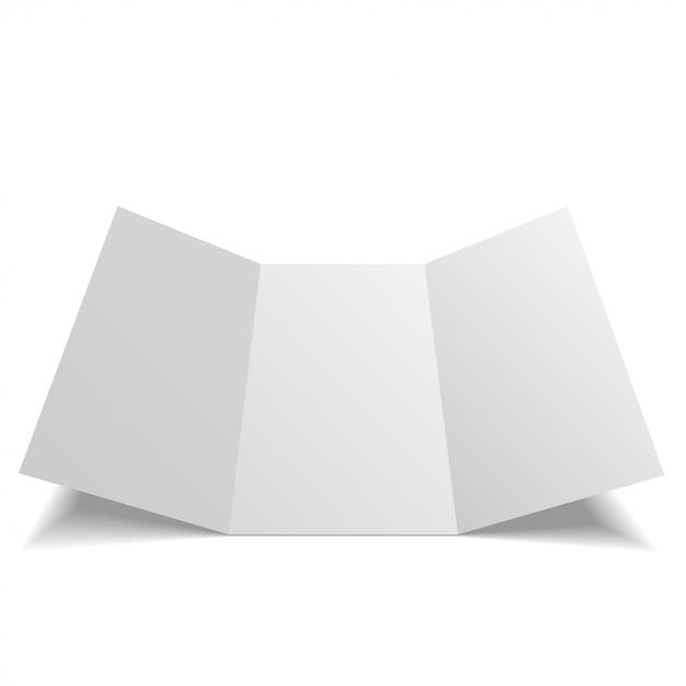 Feuille de papier à trois volets vierge, dépliant, brochure Vecteur Premium