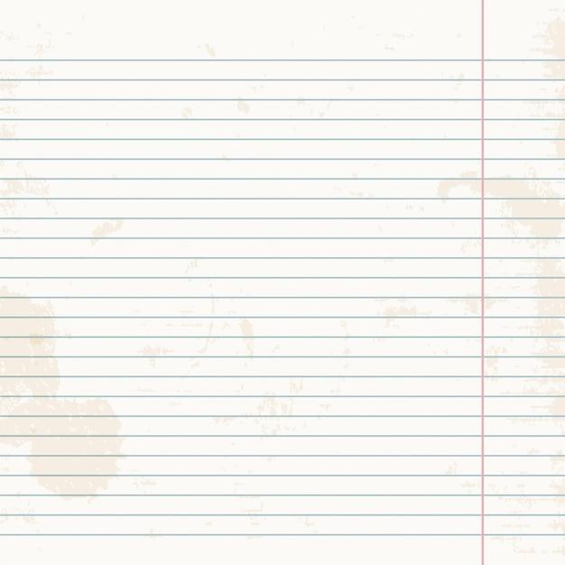 Feuille propre de cahier d'exercices à rayures. Vecteur Premium