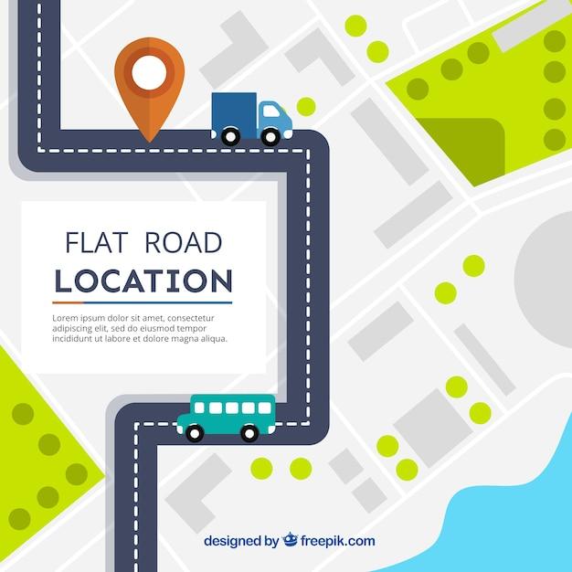 Feuille de route avec des véhicules flat Vecteur gratuit