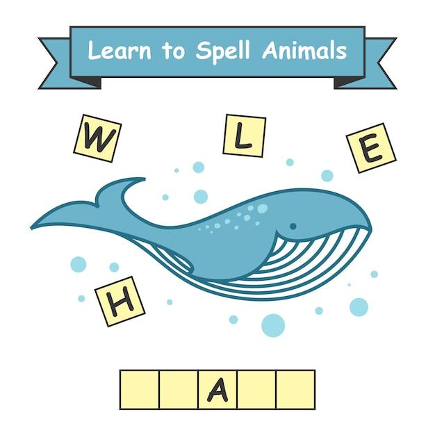 Feuille De Travail Apprendre à épeler Les Baleines Vecteur Premium