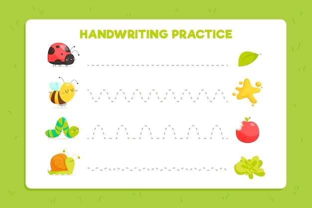Feuille De Travail Pratique De L'écriture Manuscrite Pour Les Enfants Vecteur gratuit