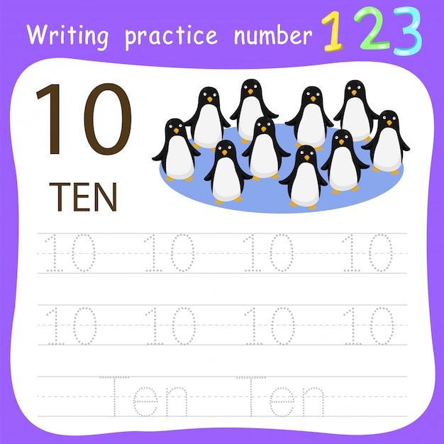 Feuille de travail pratique d'écriture numéro dix Vecteur Premium