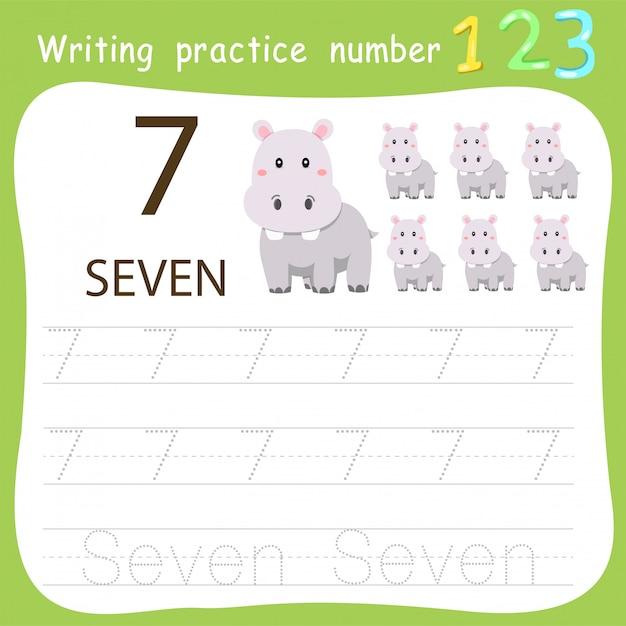 Feuille de travail pratique d'écriture numéro sept Vecteur Premium