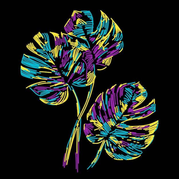 Feuille tropicale abstrait coloré de l'été Vecteur Premium
