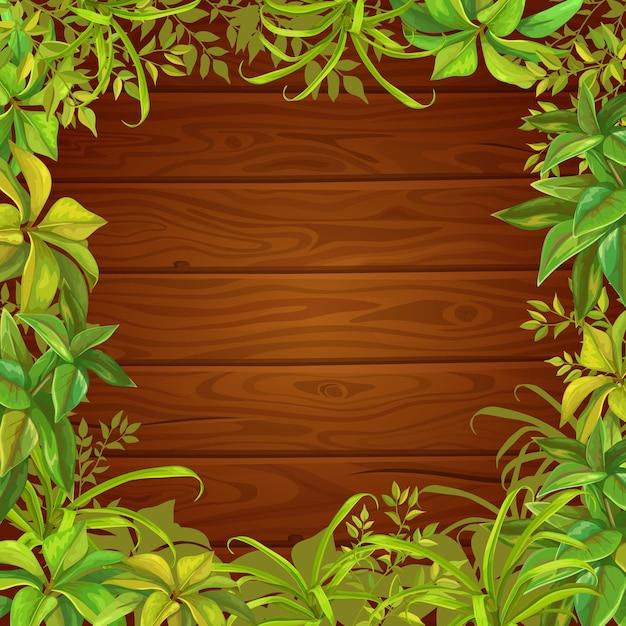 Feuilles D'arbres, D'herbe Et De Fond En Bois. Vecteur gratuit