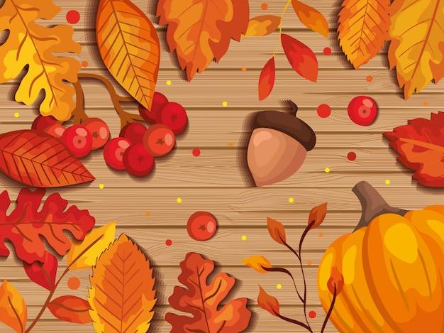 Feuilles d'automne en arrière-plan en bois avec fruits à noix Vecteur gratuit