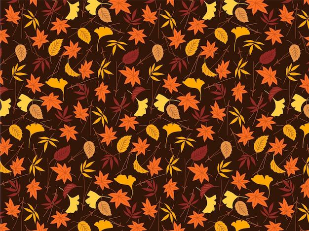 Feuilles d'automne coloré de fond Vecteur Premium