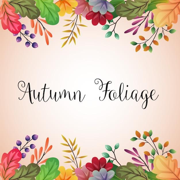 Feuilles d'automne colorées fond illustration de bordure Vecteur Premium