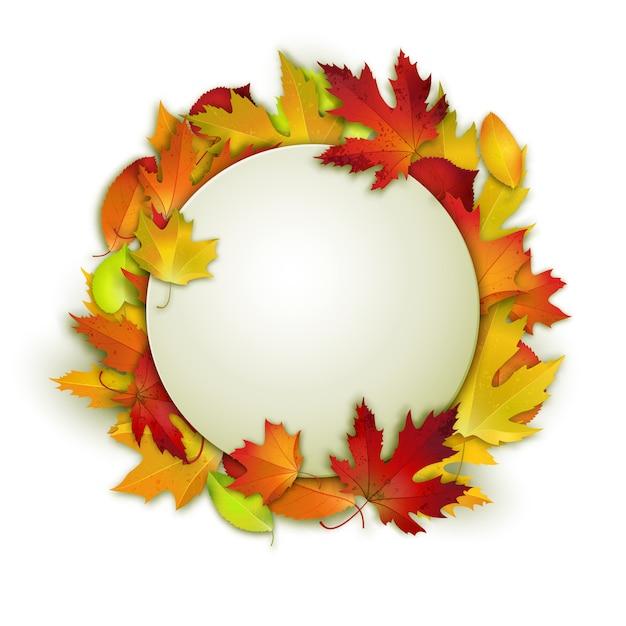 Feuilles d'automne colorés et blanc en cercle Vecteur Premium