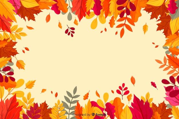 Feuilles d'automne design plat fond Vecteur gratuit