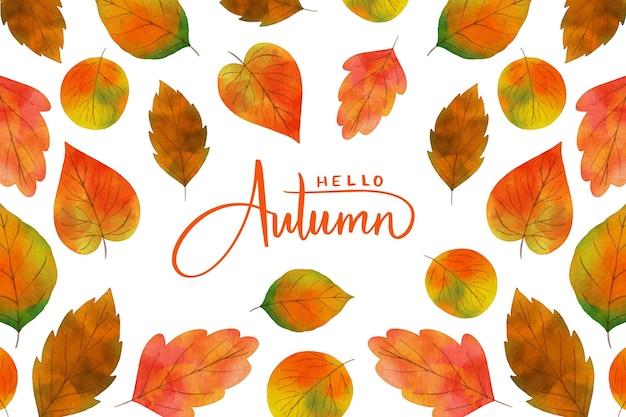 Feuilles D'automne Fond Aquarelle Vecteur gratuit