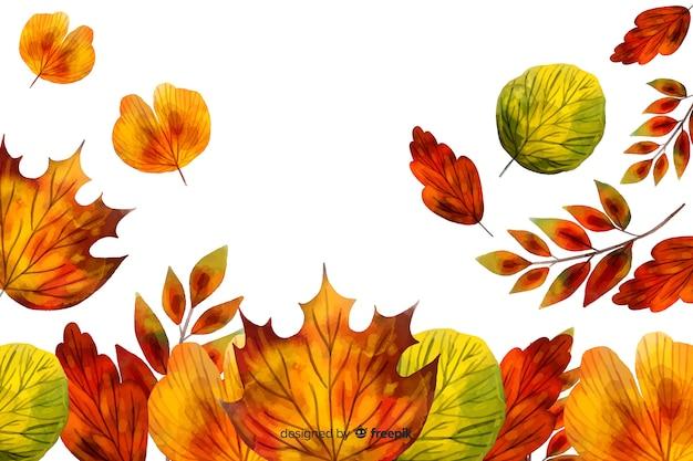 Feuilles d'automne fond style aquarelle Vecteur gratuit