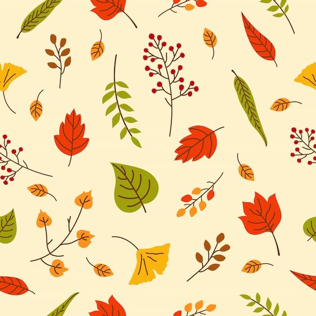 Feuilles d'automne seamless pattern pour papier peint Vecteur Premium