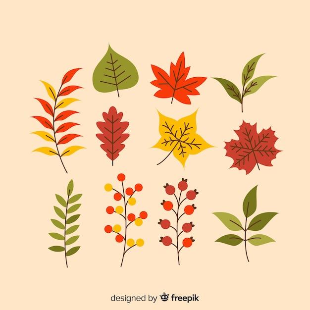 Feuilles d'automne style plat de collection Vecteur gratuit