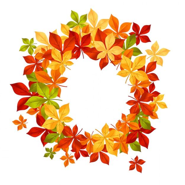 Feuilles d'automne tombant dans le cadre pour la saison Vecteur Premium