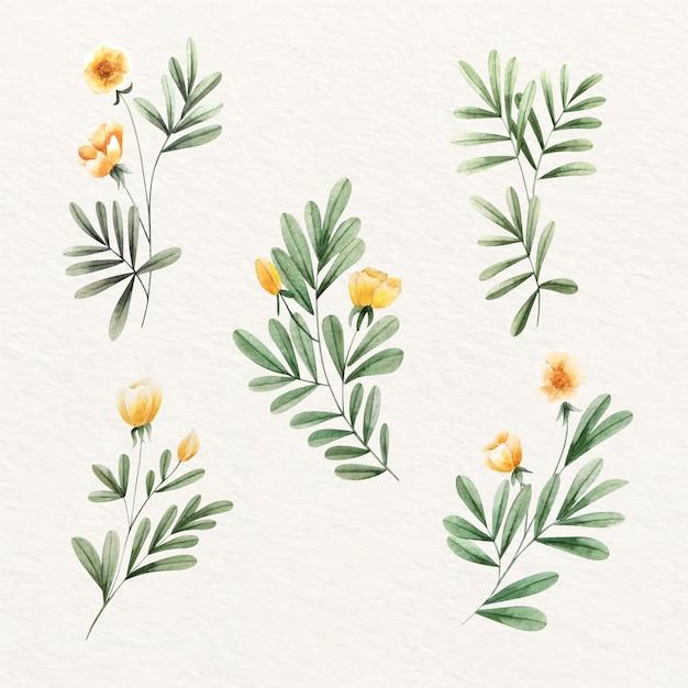 Feuilles Et Belles Fleurs Dorées Vecteur gratuit