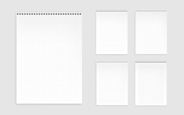 Feuilles De Cahier, Pages Vierges Avec Lignes, Points Et Chèques Vecteur gratuit