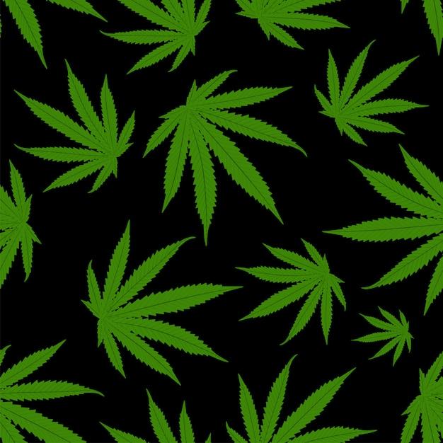 Feuilles De Cannabis Motif De Fond. Modèle Sans Couture De Marijuana. Vecteur Premium