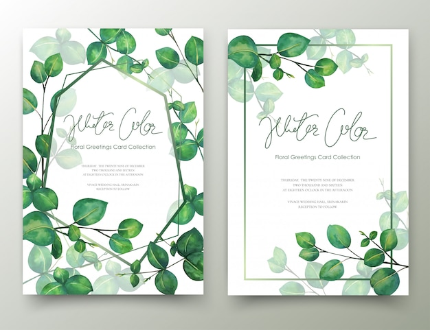 Feuilles cartes d'invitation aquarelle. Vecteur Premium