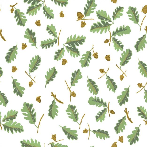 Feuilles de chêne modèle sans couture botanique Vecteur Premium