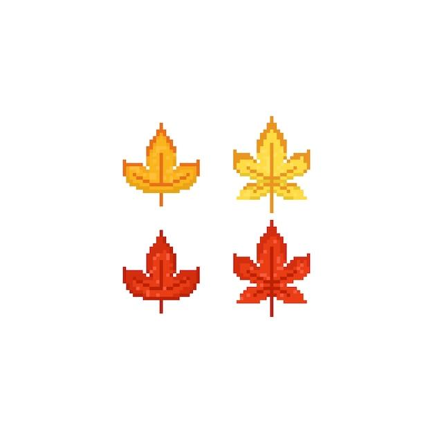 Feuilles D Erable 8bit Autumn Pixel Art Vecteur Premium