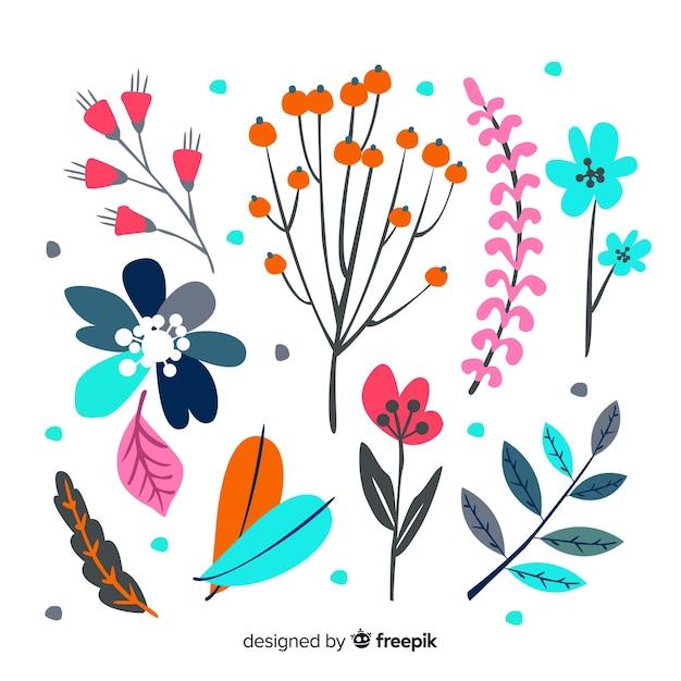 Feuilles et fleurs dessinées à la main abstraite Vecteur gratuit