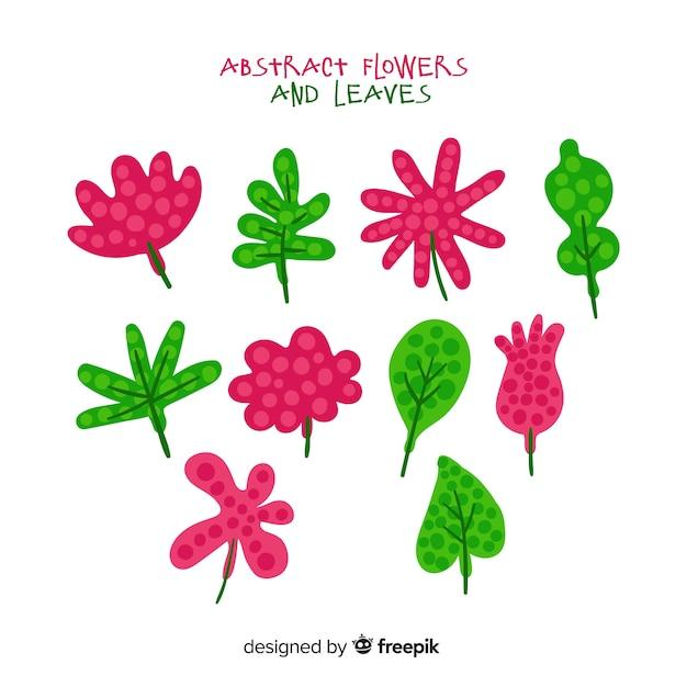 Feuilles et fleurs dessinées à la main Vecteur gratuit