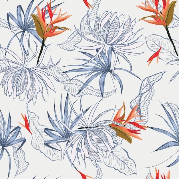Feuilles et fleurs exotiques seamless pattern Vecteur Premium