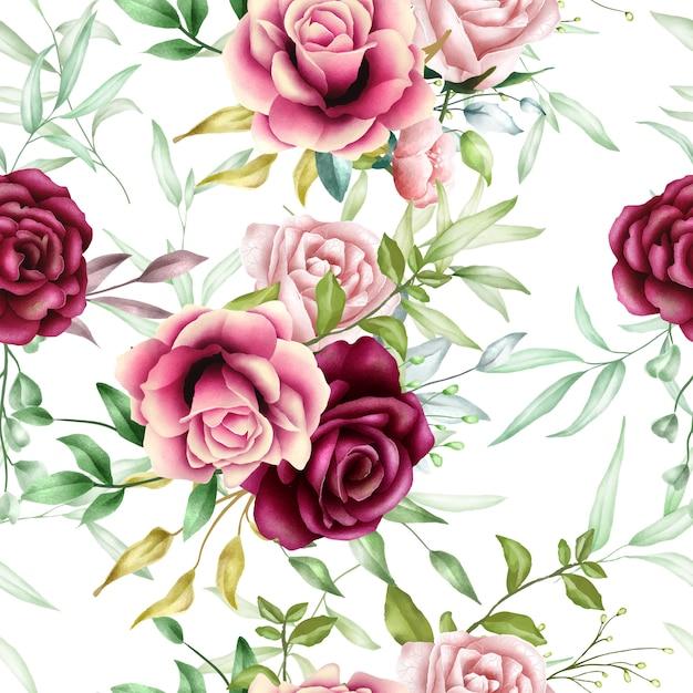 Feuilles florales beau modèle sans couture aquarelle Vecteur Premium