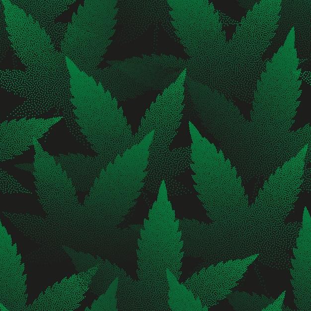 Feuilles De Marijuana Pointillées Seamless Pattern Vecteur Premium