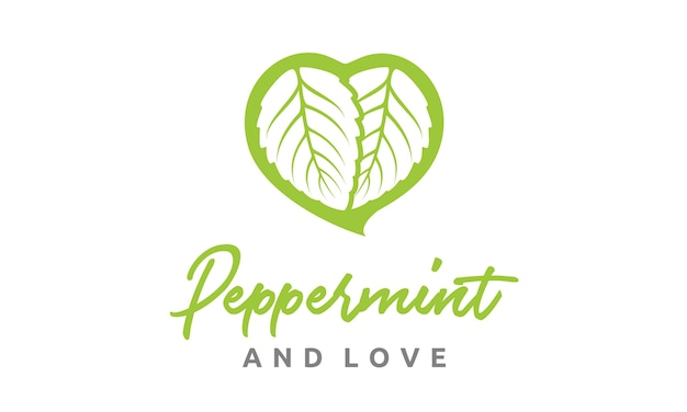 Feuilles de menthe et logo de coeur Vecteur Premium
