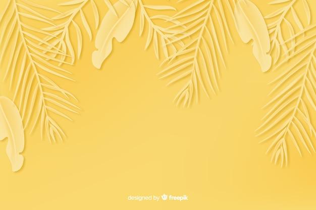 Feuilles Monochromes Fond Style Papier Jaune Vecteur Premium