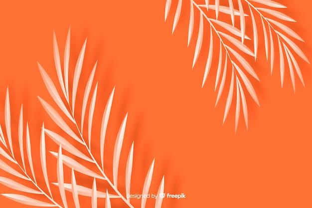 Feuilles monochromes fond style papier à l'orange Vecteur gratuit