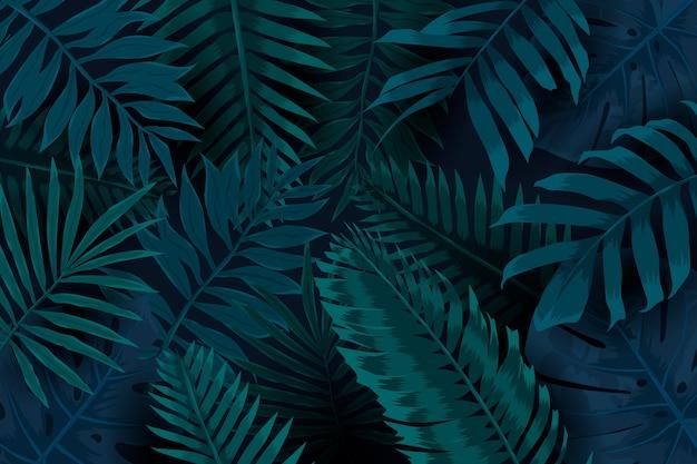 Feuilles Naturelles Fond Tropical Foncé Vecteur gratuit