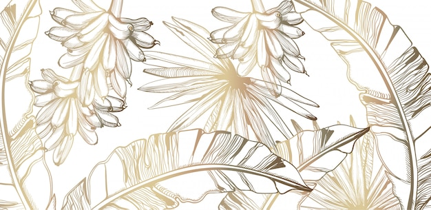 Feuilles De Palmier Et Bananes Modèle Art En Ligne Doré Tropique. Affiche D'été Décorations Exotiques Vecteur Premium
