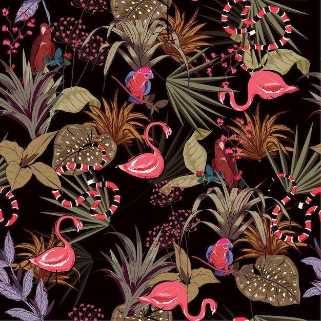 Feuilles de palmier colorées de nuit tropicale Vecteur Premium