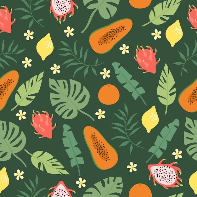 Feuilles De Palmier Et Motif De Fruits Vecteur gratuit