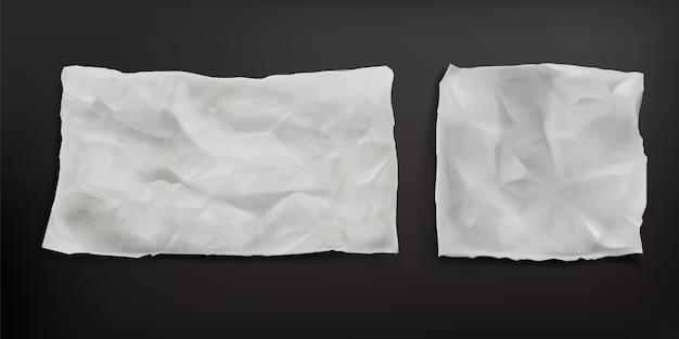 Feuilles De Papier Sulfurisé Froissées Isolées. Vecteur Réaliste De Vieux Papier Vierge Avec Texture Froissée, Plis Et Bords Déchirés. Feuille De Parchemin Anti-graisse Vecteur gratuit