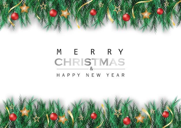 Feuilles De Pin Vert Ruban Boule étoile Sur Fond Blanc Avec Fête De Noël Vecteur Premium