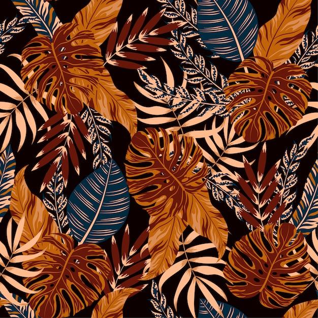 Feuilles et plantes tropicales Vecteur Premium