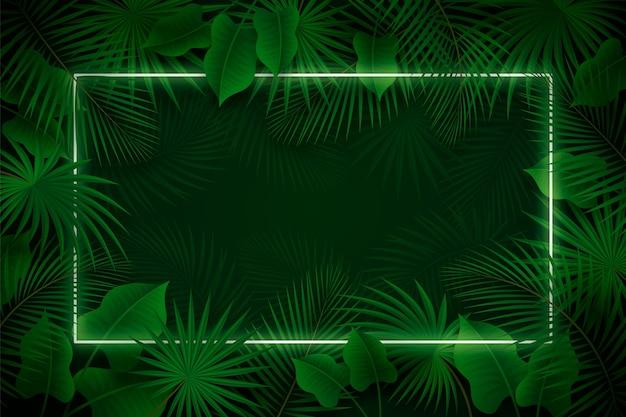 Feuilles Réalistes Avec Cadre Néon Vert Vecteur gratuit